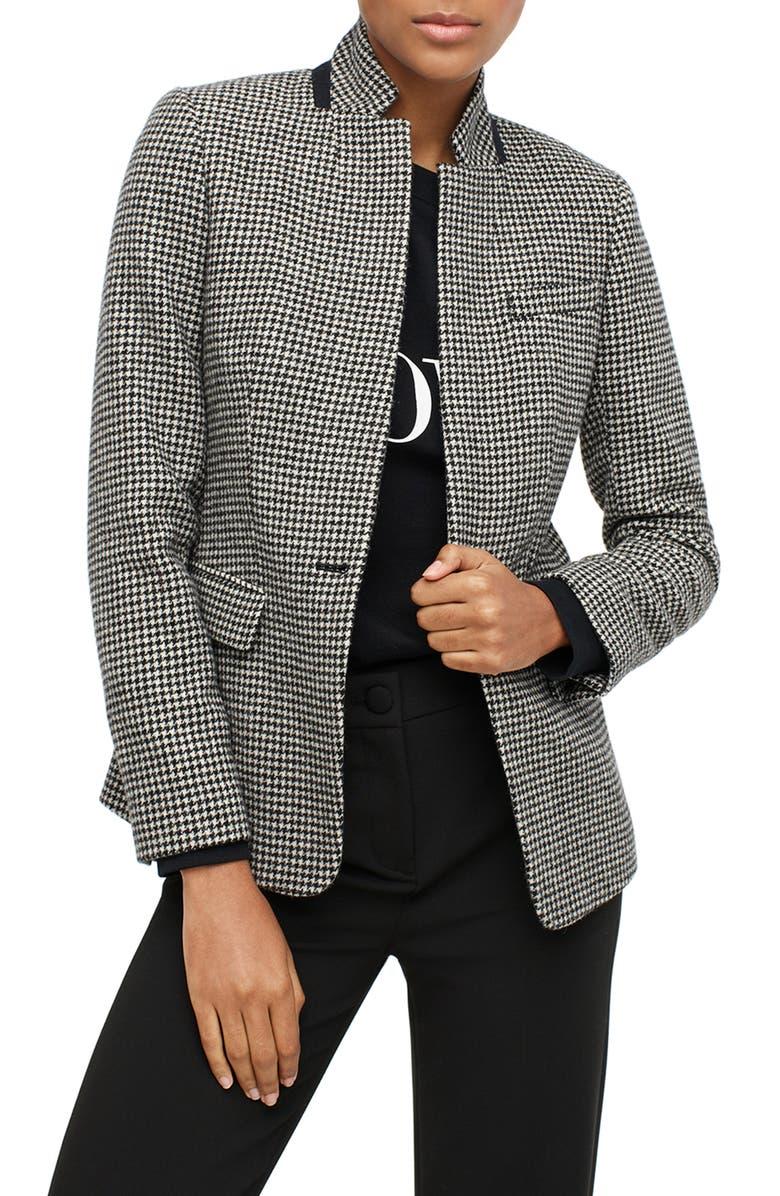 J.CREW Regent Houndstooth Wool Blazer, Main, color, 001