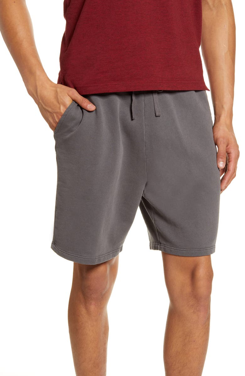 TOPMAN Washed Lounge Shorts, Main, color, CHARCOAL