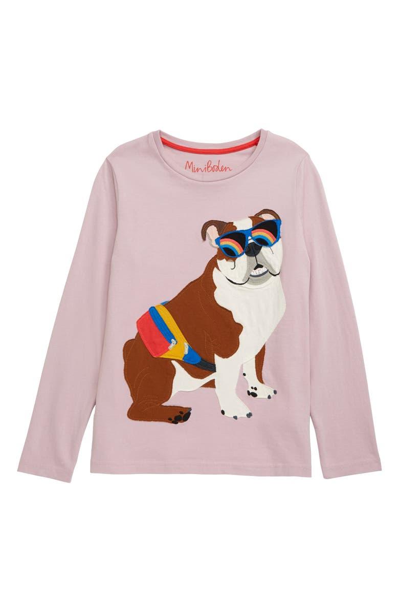 MINI BODEN Bulldog Appliqué Long Sleeve T-Shirt, Main, color, SWEET PEA PURPLE