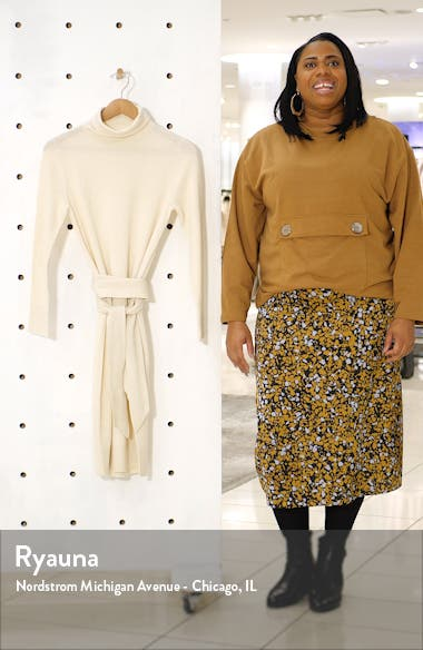 Roza Long Sleeve Turtleneck Sweater Dress, sales video thumbnail