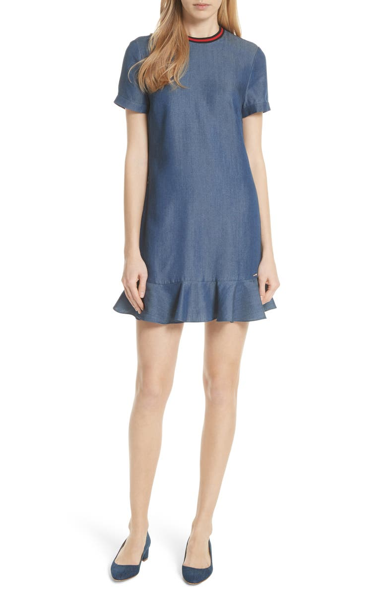 TED BAKER LONDON Colour by Numbers Denim Dress, Main, color, 431
