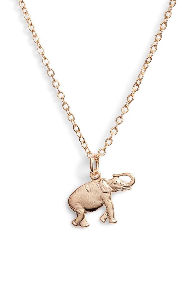 TEN79LA Elephant Charm Necklace, Main, color, GOLD