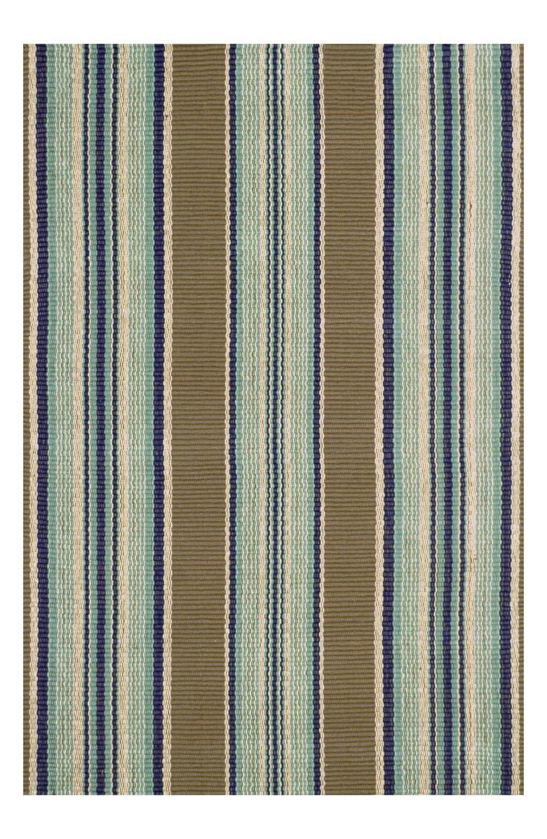 DASH & ALBERT Blue Heron Stripe Cotton Rug, Main, color, BLUE/ BROWN COTTON