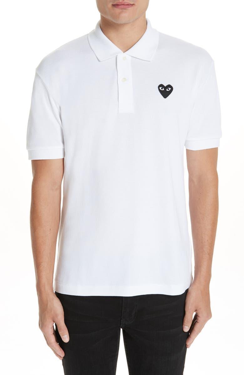 COMME DES GARÇONS PLAY Black Heart Slim Fit Piqué Polo, Main, color, WHITE