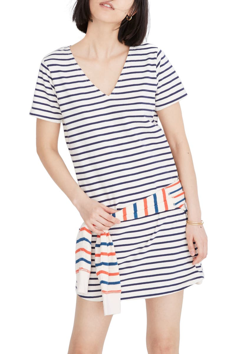 MADEWELL Yorktown Strip Relaxed T-Shirt Dress, Main, color, 900