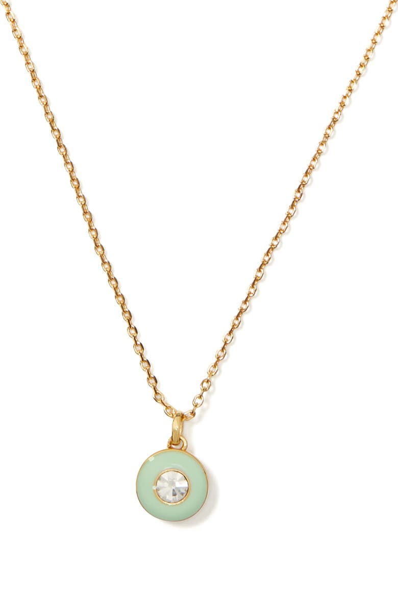 KATE SPADE NEW YORK candy drops round enamel pendant necklace, Main, color, MINT