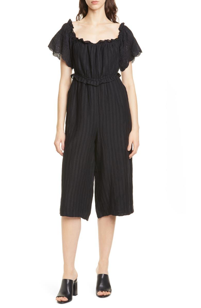 JOIE Alvera Crop Linen Jumpsuit, Main, color, 001