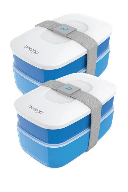 Image of BENTGO 2-Pack of Classic All-in-One Stackable Lunch Box Solution - Blue