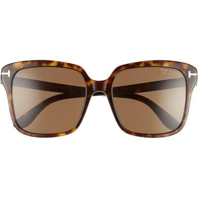Tom Ford Faye 5m Polarized Square Sunglasses - Dark Havana/ Brown