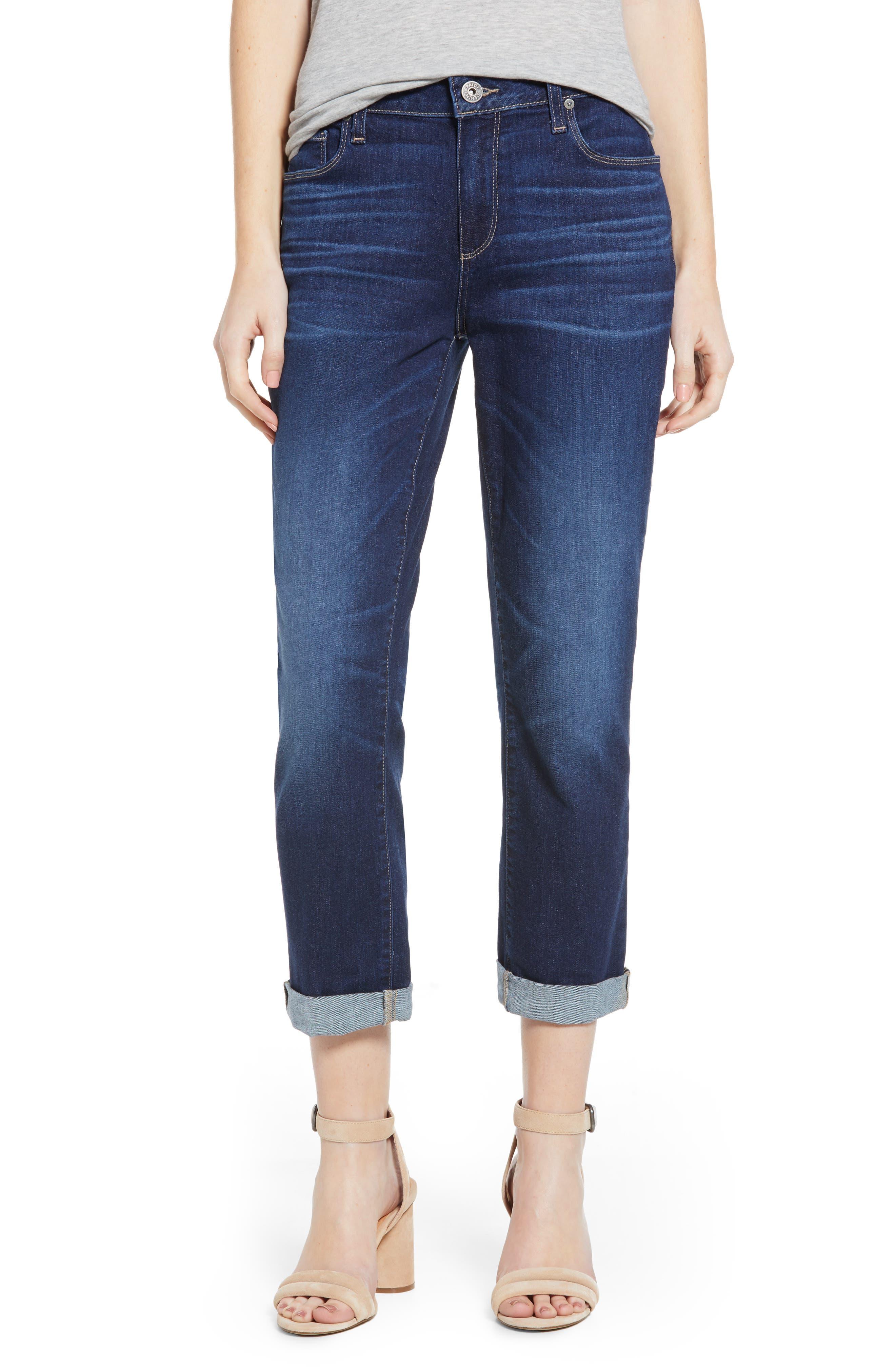 PAIGE Brigitte Transcend Vintage High Waist Crop Boyfriend Jeans (Enchant)