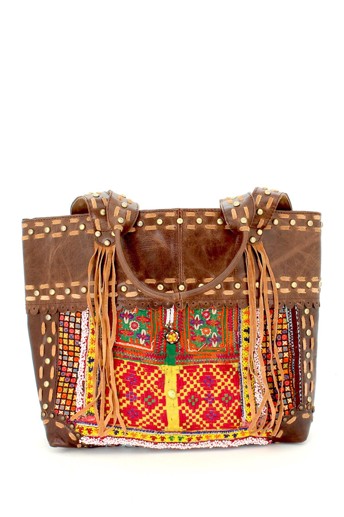 Image of Vintage Addiction Studded Accents Leather Tote