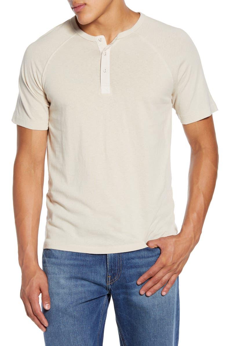 FRAME Slim Fit Short Sleeve Henley, Main, color, LINEN