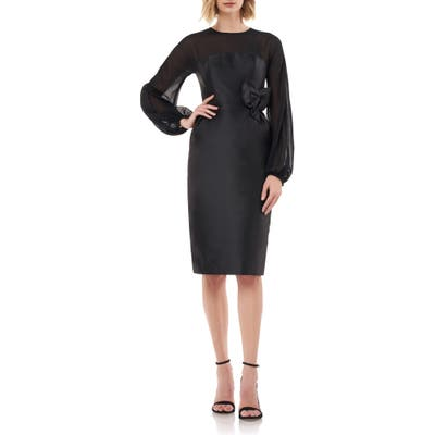 Kay Unger Long Sleeve Body-Con Sheath, Black