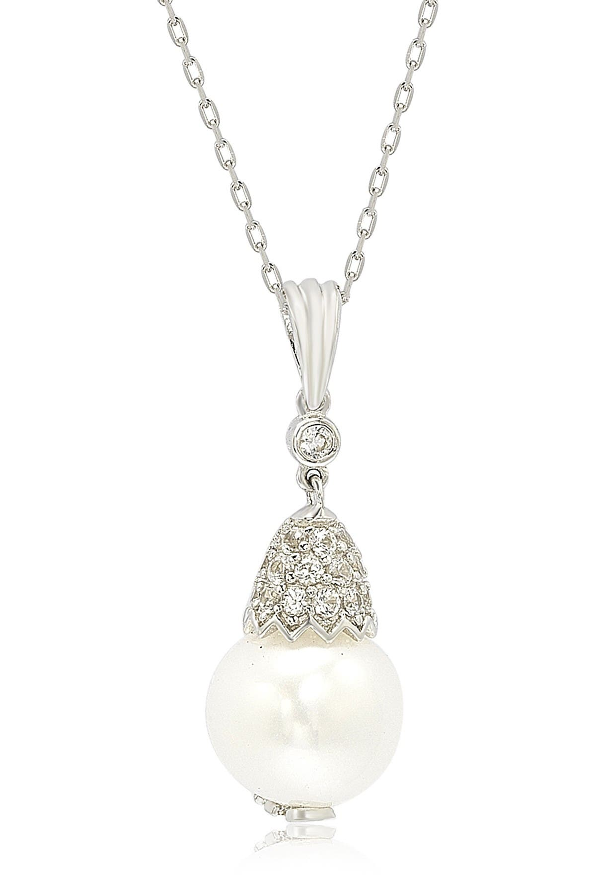 Image of Suzy Levian Sterling Silver 9mm Freshwater Pearl & Created Sapphire Pendant