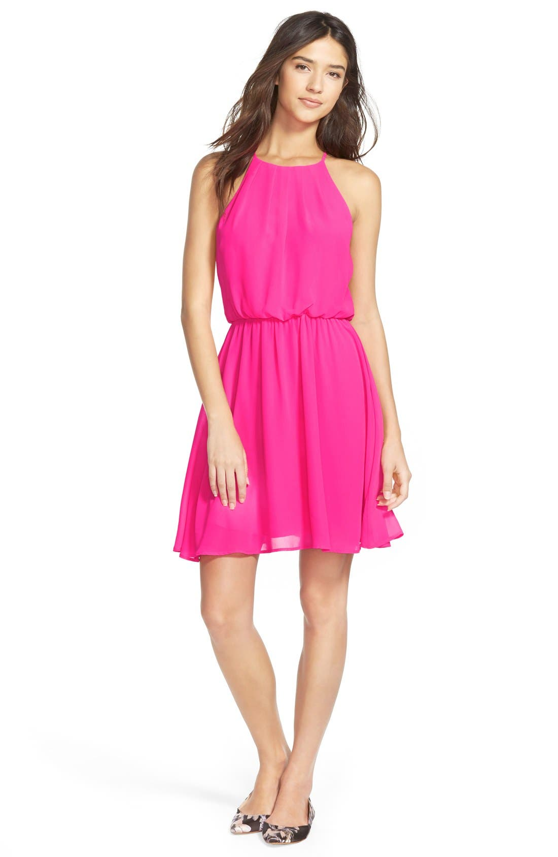 ,                             Blouson Chiffon Skater Dress,                             Main thumbnail 204, color,                             656
