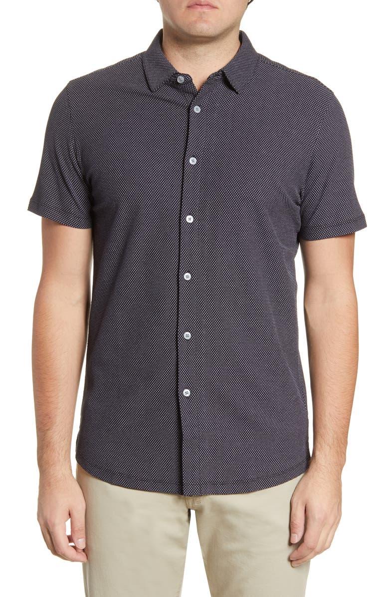 ROBERT BARAKETT Broderick Short Sleeve Knit Button-Up Shirt, Main, color, BLACK