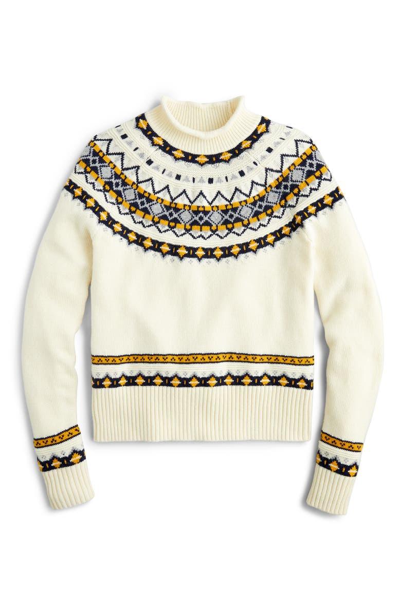 J.CREW Fair Isle Rollneck Sweater, Main, color, 250