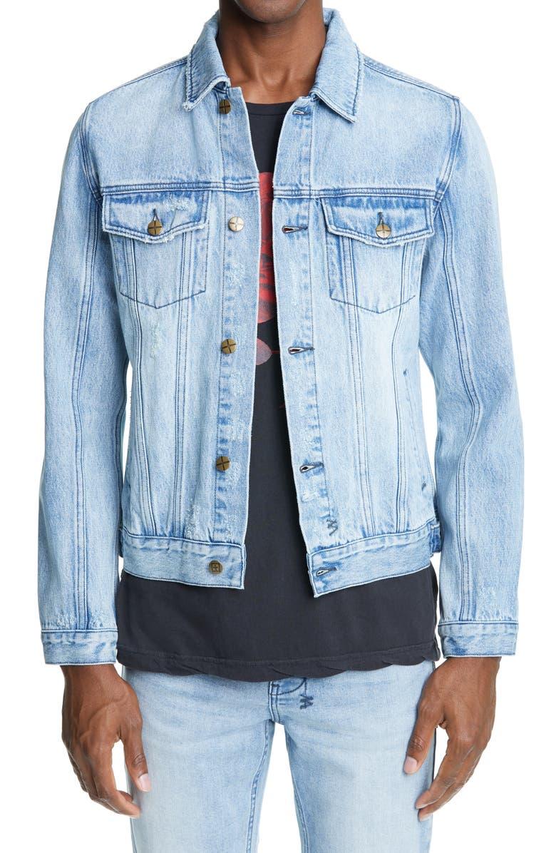 KSUBI Classic Distressed Denim Jacket, Main, color, DENIM