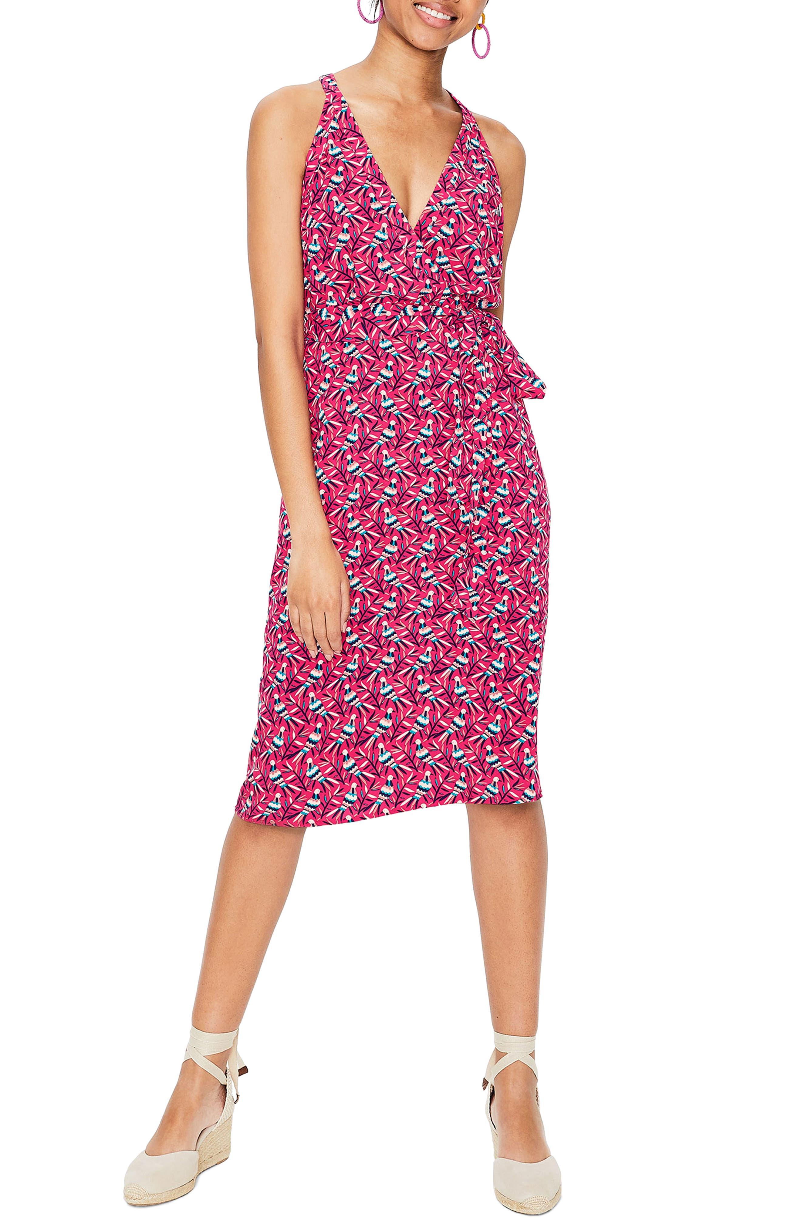 Boden Olwen Print Halter Dress, Pink