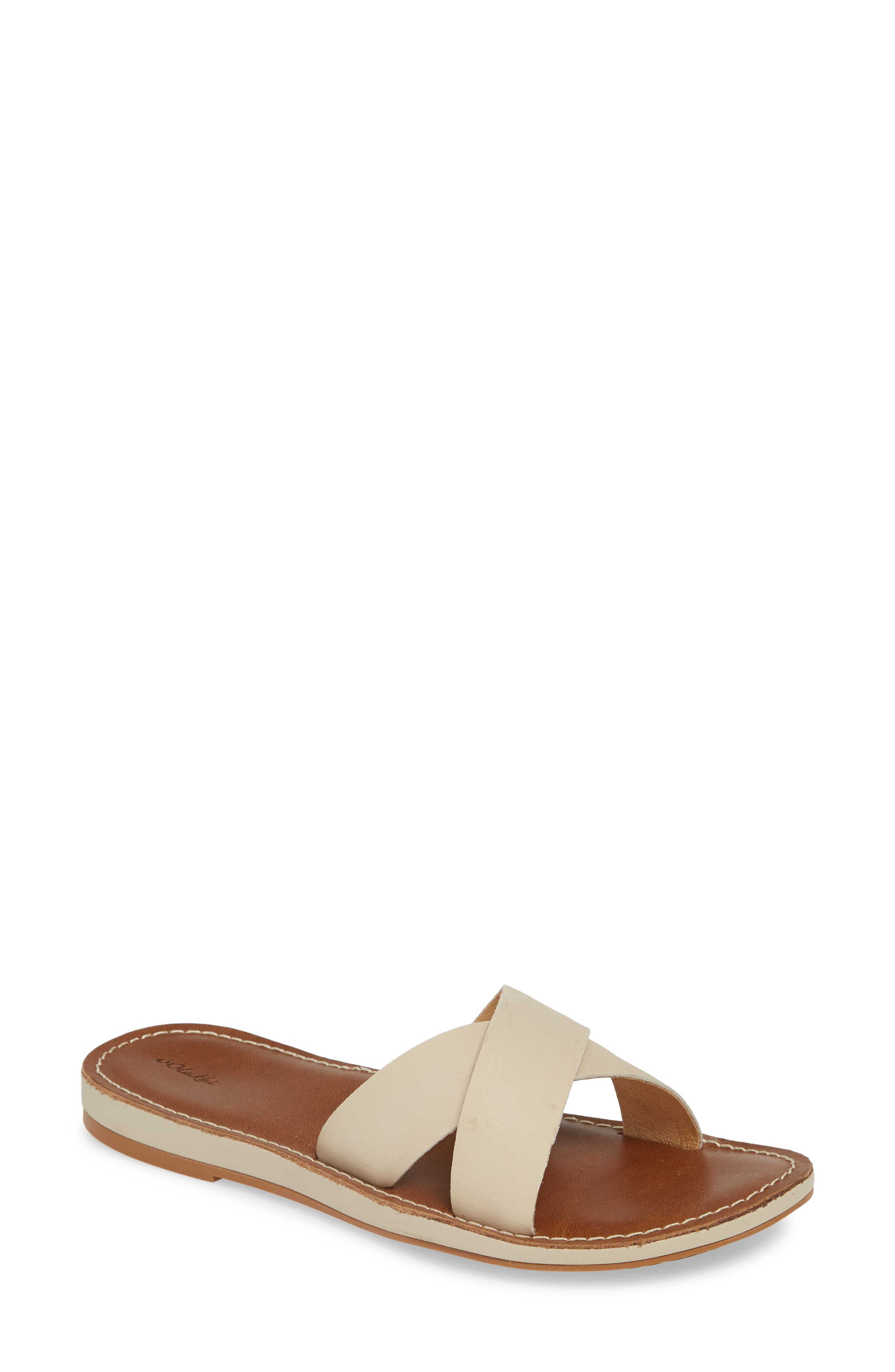 Soft leather straps crisscross atop an easygoing slide crafted with an anatomical footbed and textured sole. Style Name: Olukai Ke\\\'A Slide Sandal (Women). Style Number: 5792988. Available in stores.