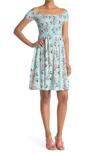Image of Papillon Floral Off-the-Shoulder Smocked Dress