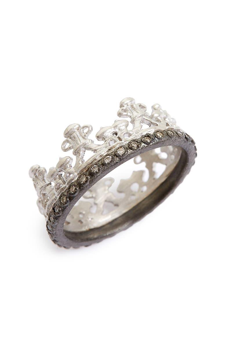 ARMENTA Old World Half Crown Diamond Ring, Main, color, SILVER