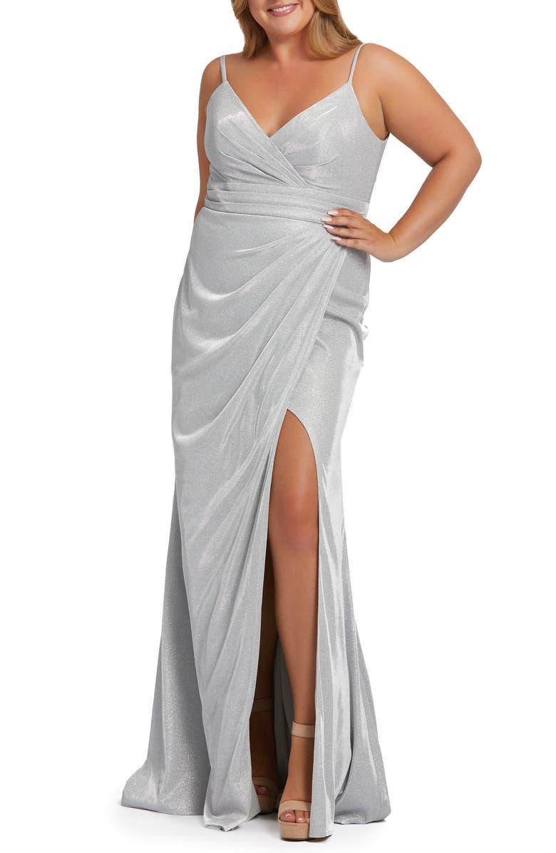 MAC DUGGAL Metallic Thigh Slit Gown, Main, color, SILVER