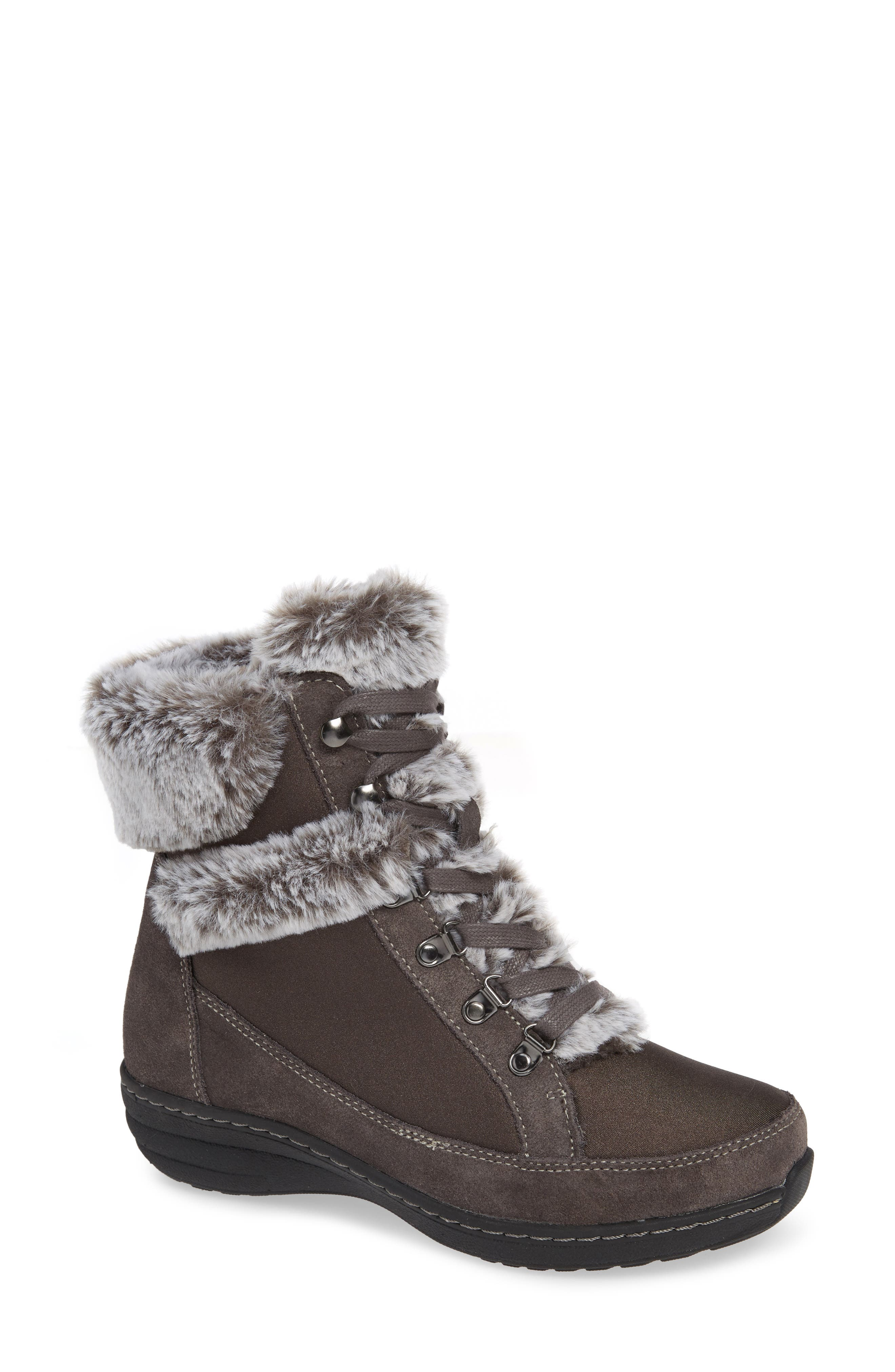 Aetrex Fiona Faux Fur Lined Boot, Grey