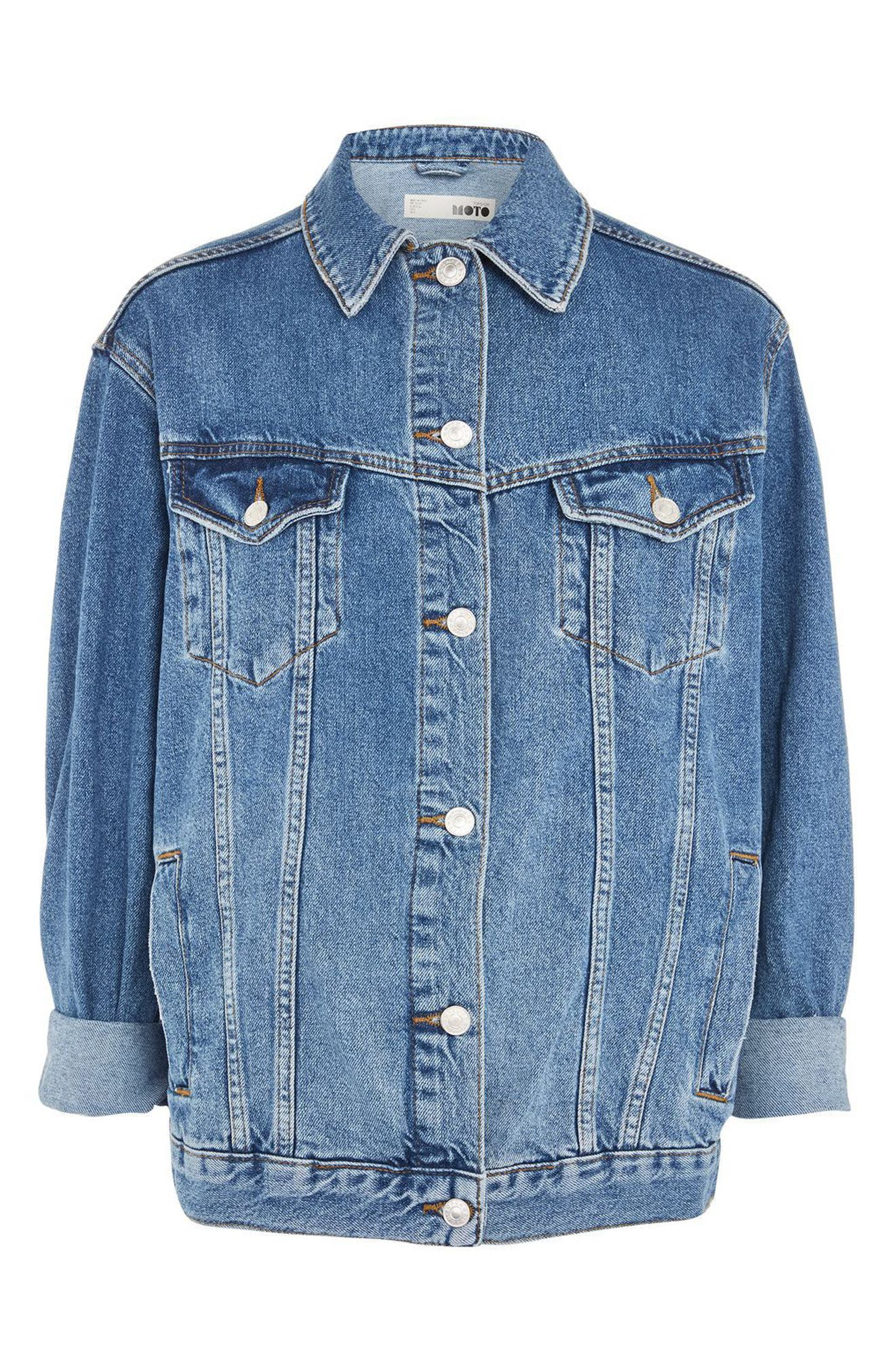 ,                             Oversize Denim Jacket,                             Alternate thumbnail 5, color,                             MID STONE