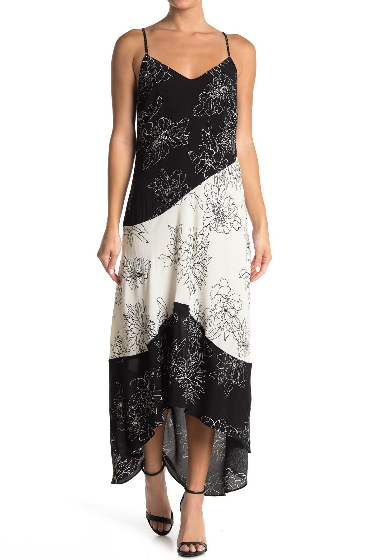 Image of MELLODAY Floral Asymmetrical Hem Maxi Dress