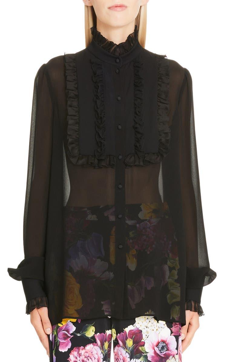 DOLCE&GABBANA Ruffle Bib Sheer Stretch Silk Blouse, Main, color, BLACK