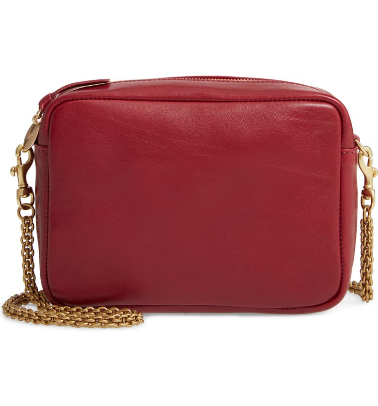 CLARE V. Leather Crossbody Bag, Main, color, OXBLOOD RUSTIC