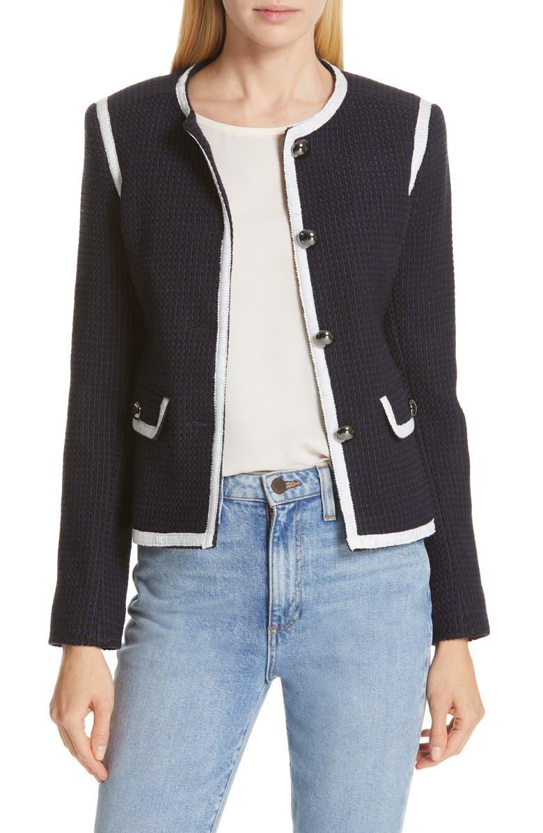 HELENE BERMAN Contrast Trim Tweed Jacket, Main, color, 400