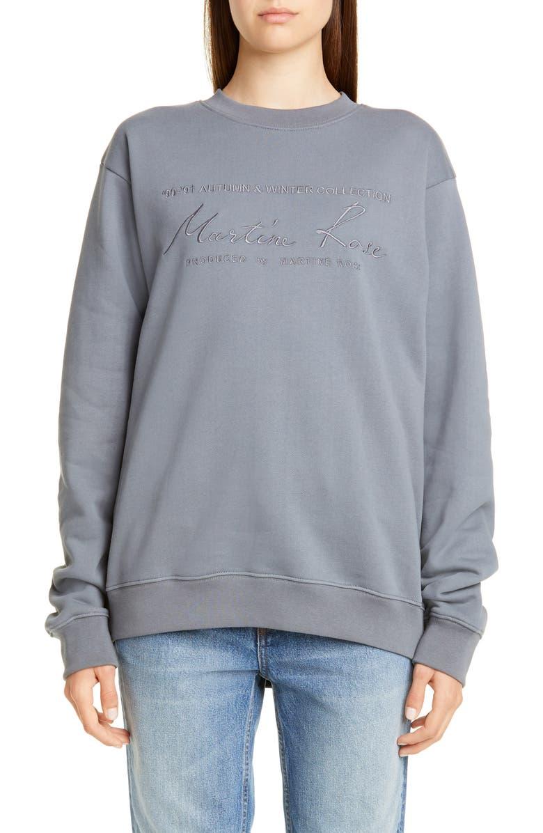 MARTINE ROSE Classic Crewneck Sweatshirt, Main, color, GREY