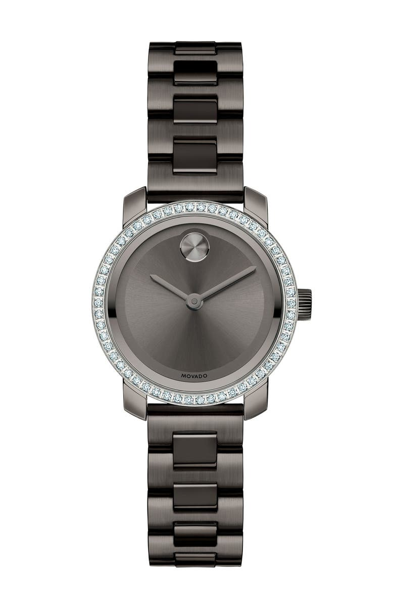 MOVADO 'Bold' Diamond Bezel Bracelet Watch, 25mm, Main, color, 020