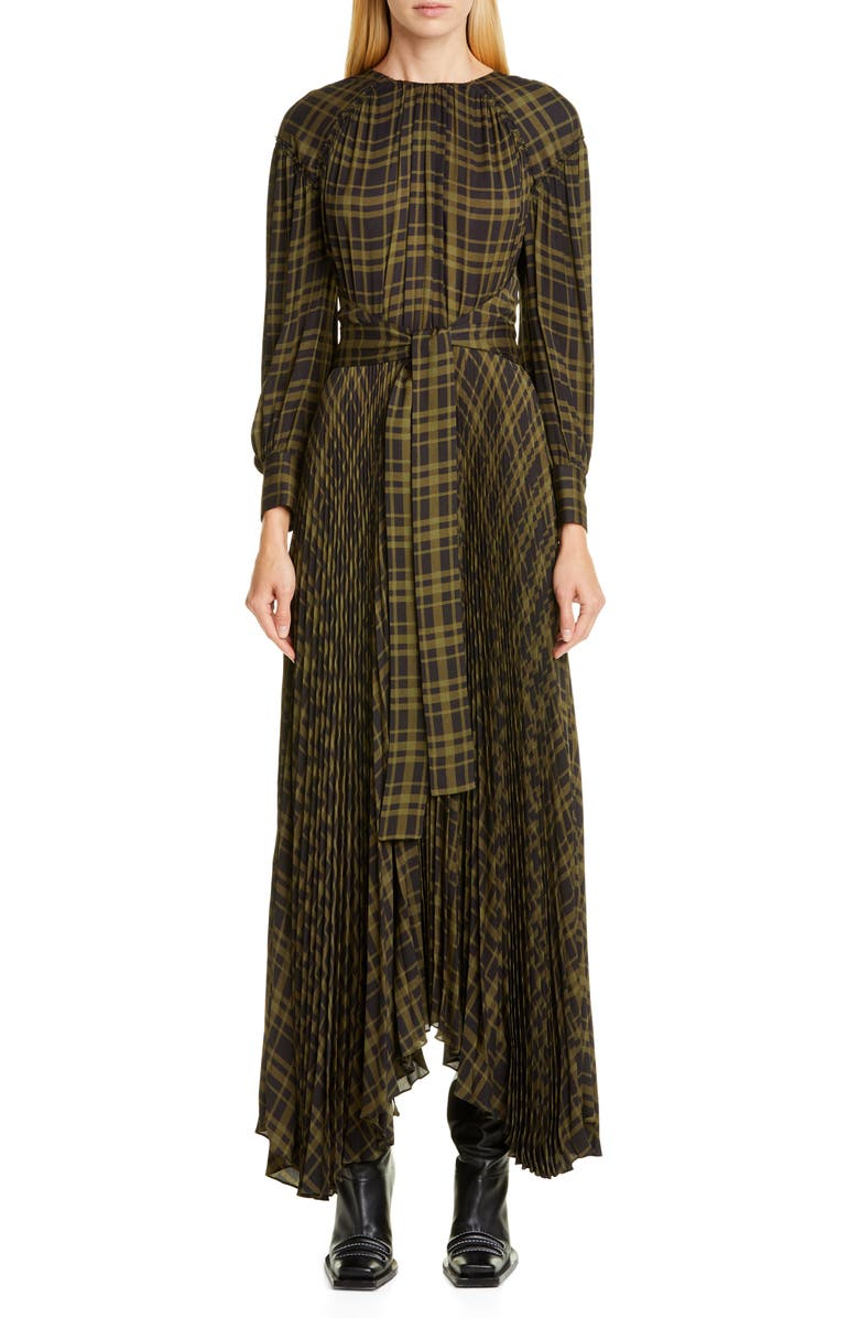 PROENZA SCHOULER Pleated Plaid Chiffon Long Sleeve Maxi Dress, Main, color, DARK OLIVE/ BLACK PLAID