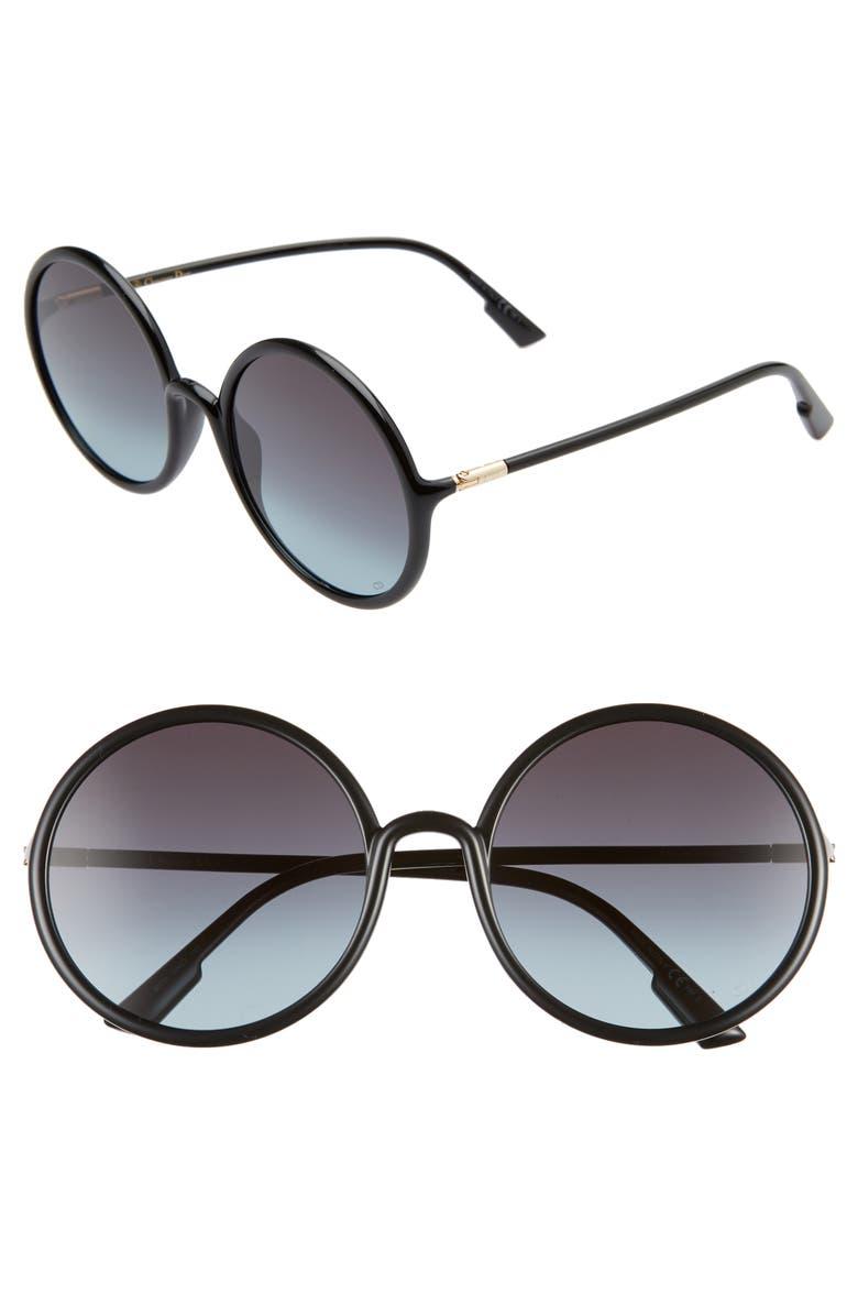 DIOR Stellair3s 59mm Round Sunglasses, Main, color, BLACK/ GREY