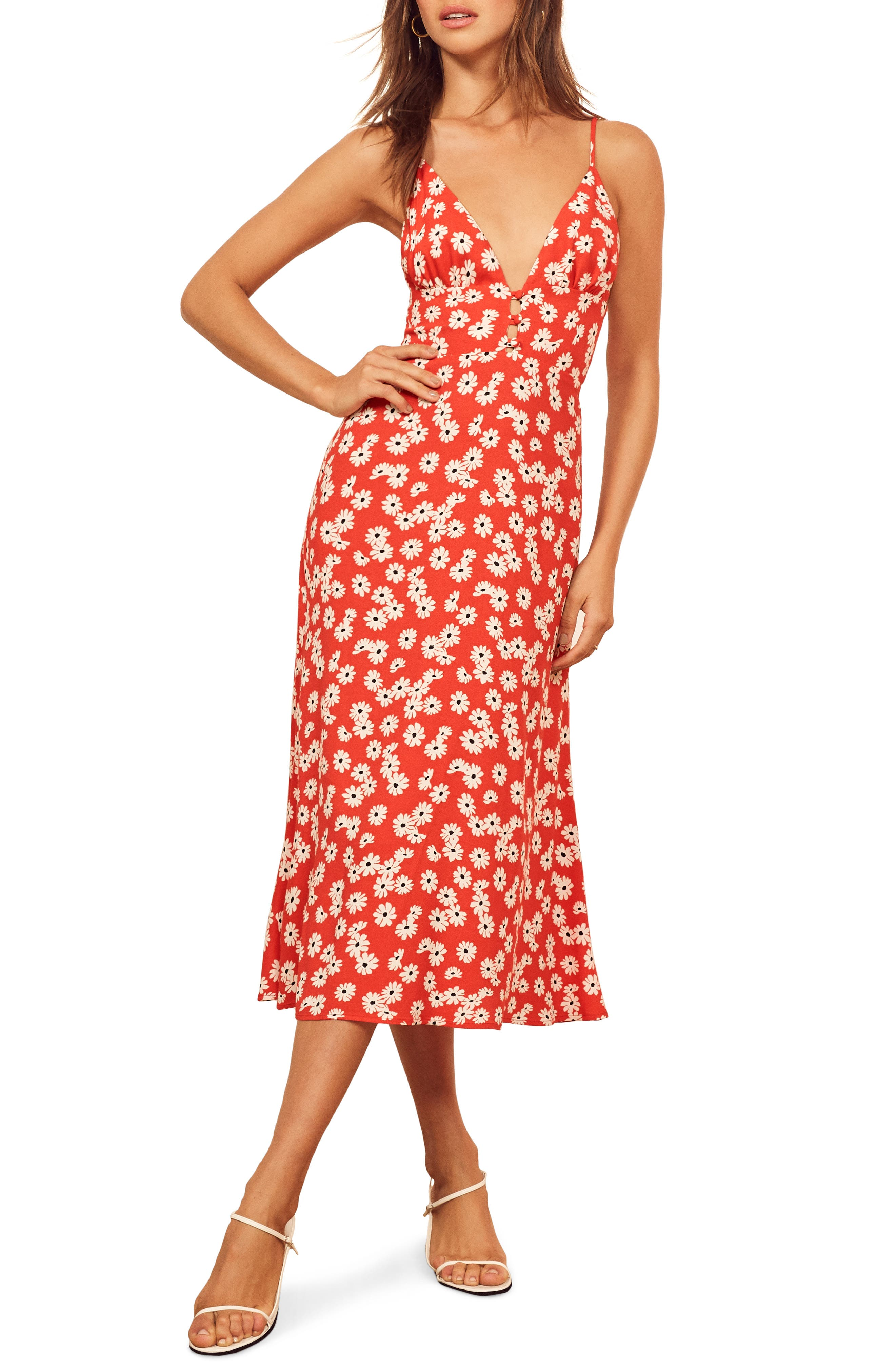 Reformation Montague Midi Sundress, Red