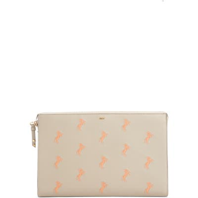 Chloe Embroidered Leather Zip Pouch - Grey
