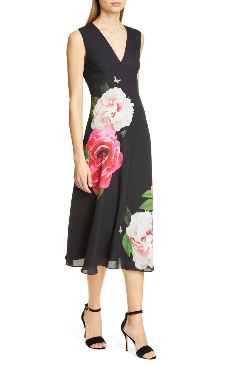 TED BAKER LONDON Ulna Magnificent Midi Dress, Main, color, BLACK