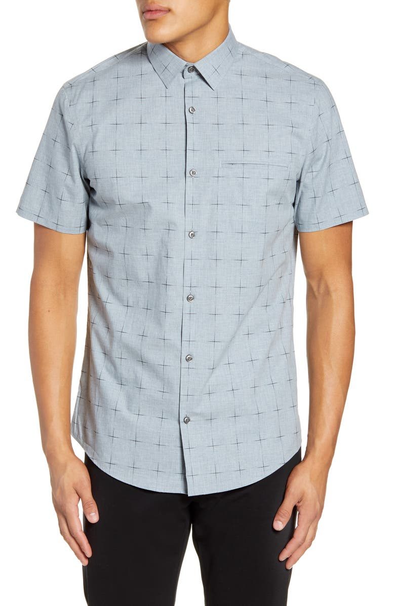 CALIBRATE Slim Fit Windowpane Short Sleeve Button-Up Sport Shirt, Main, color, GREY HEATHER GRID