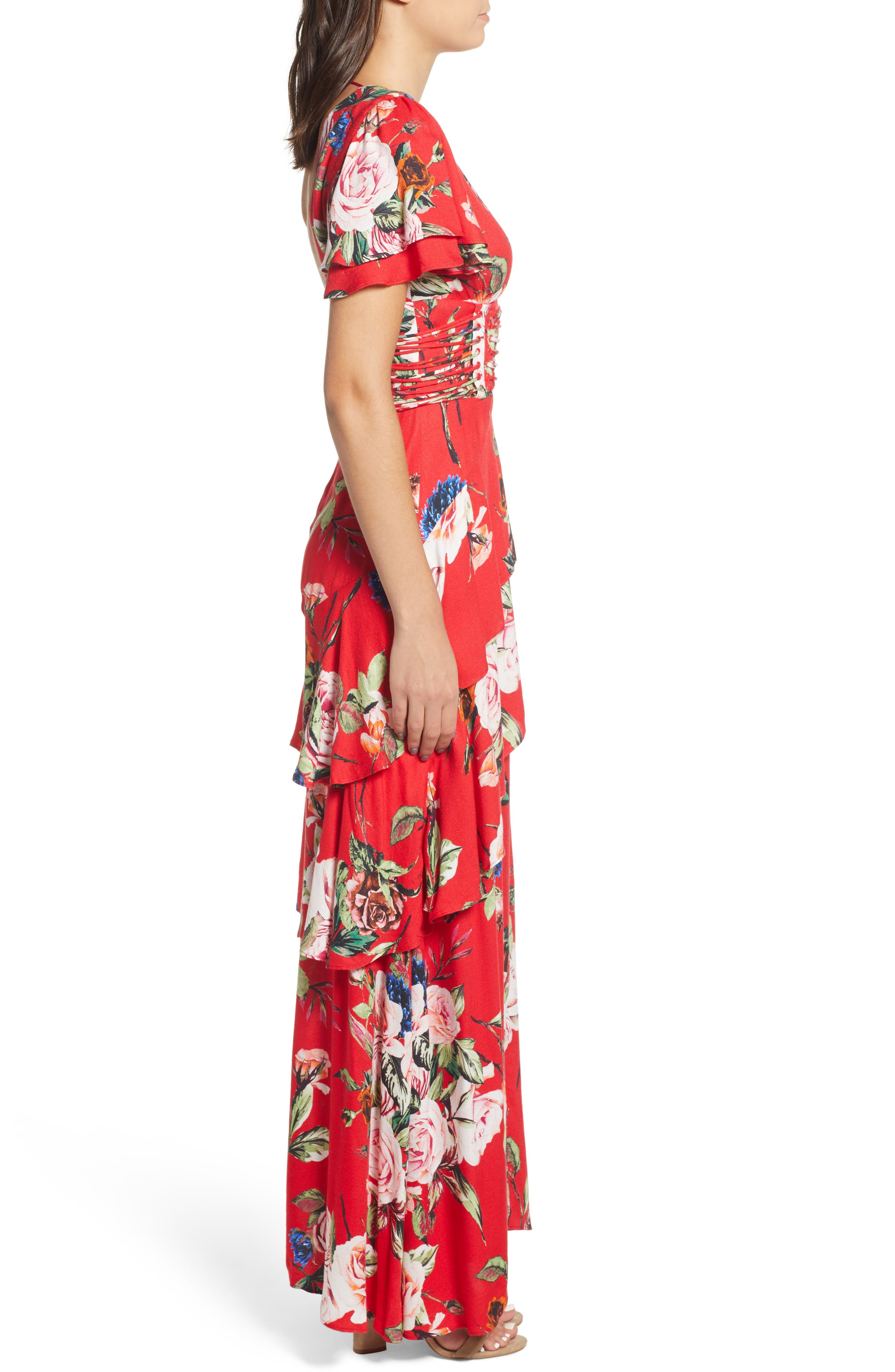 ,                             Tiered Ruffle Maxi Dress,                             Alternate thumbnail 4, color,                             600