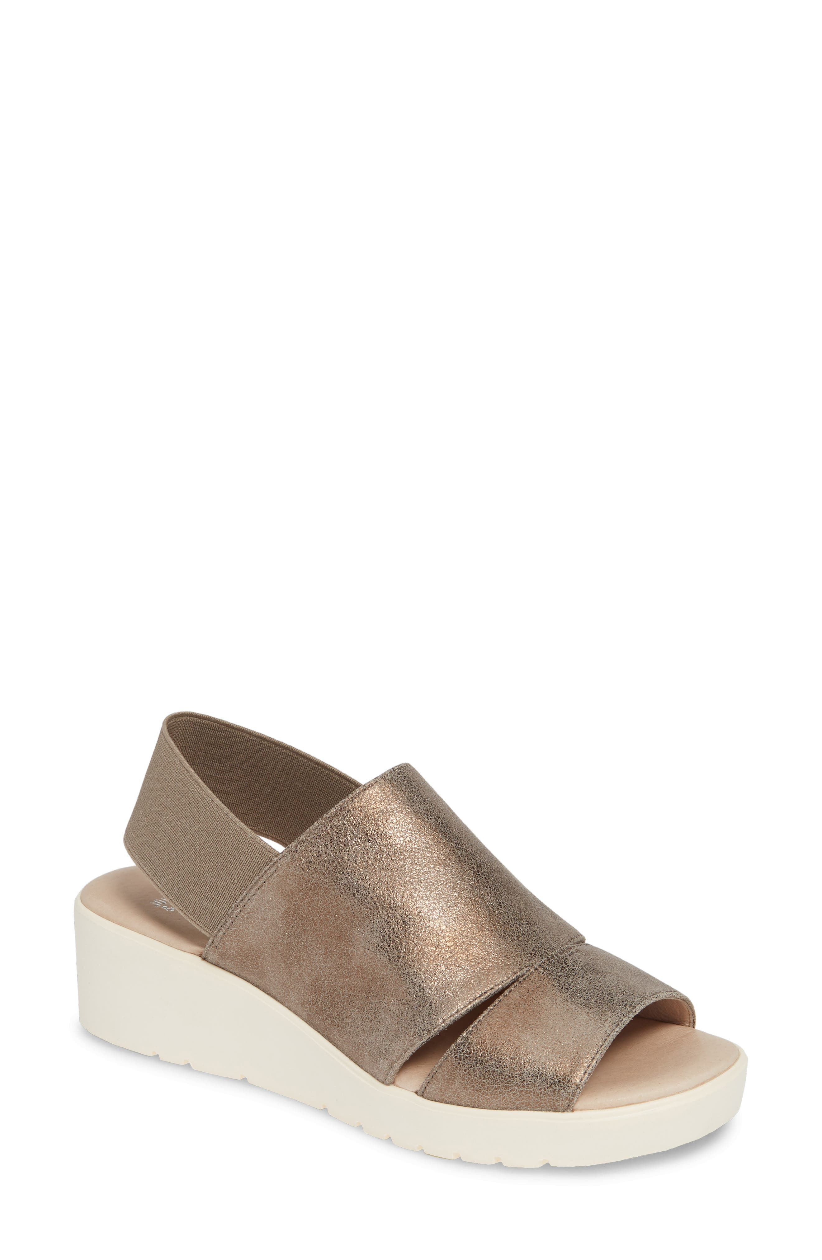 Johnston & Murphy Cassandra Slingback Platform Sandal, Metallic