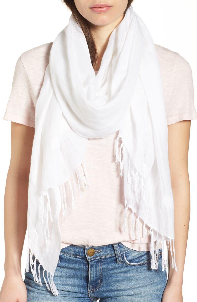 NORDSTROM Linen Blend Scarf, Main, color, WHITE