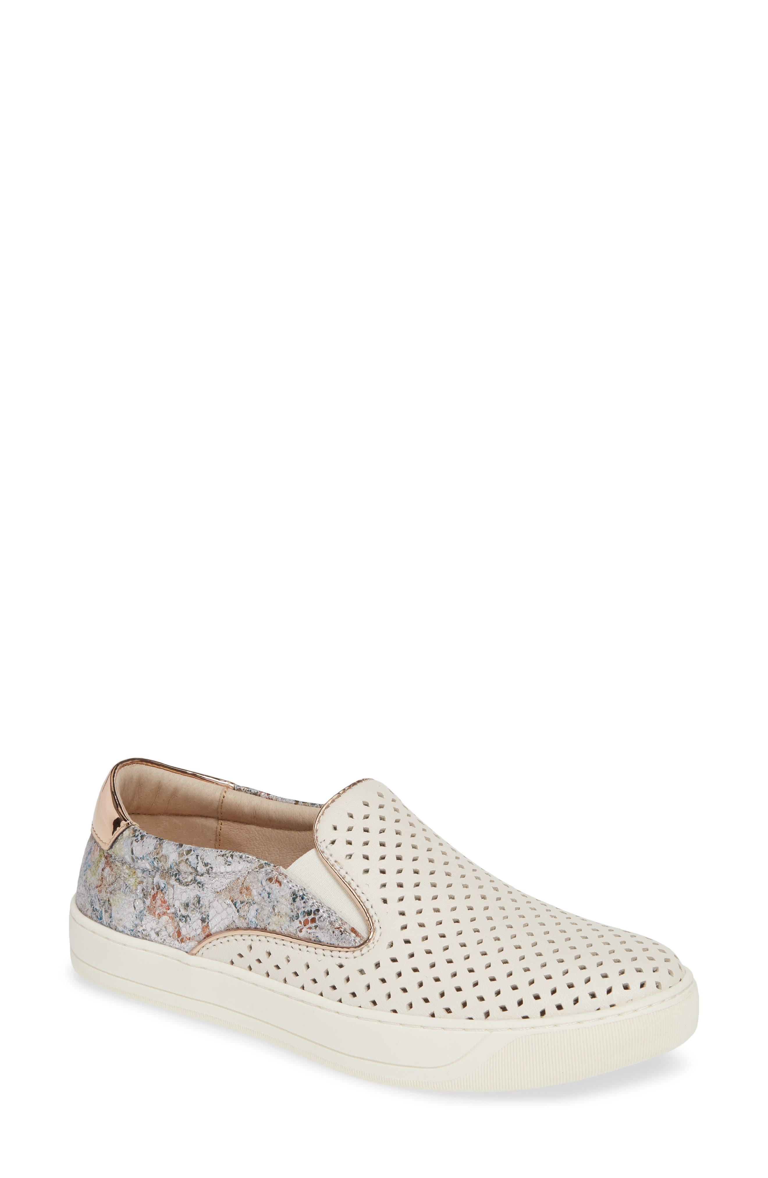 Johnston & Murphy Elaine Perforated Slip-On Sneaker, White
