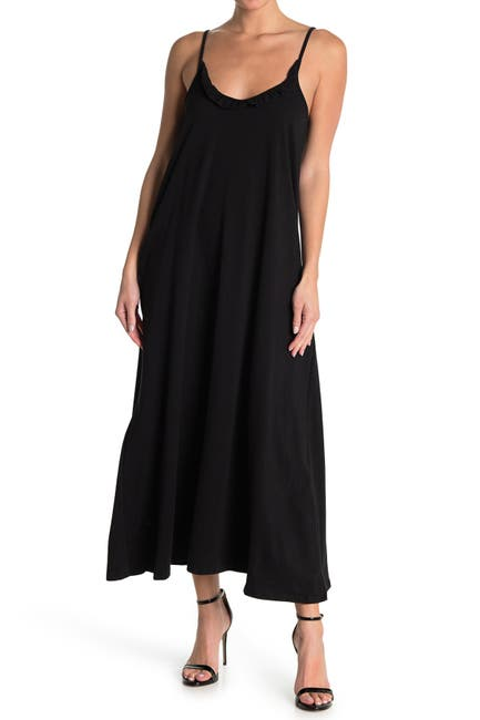 Image of Velvet Torch Ruffle Neck Slip Midi Dress