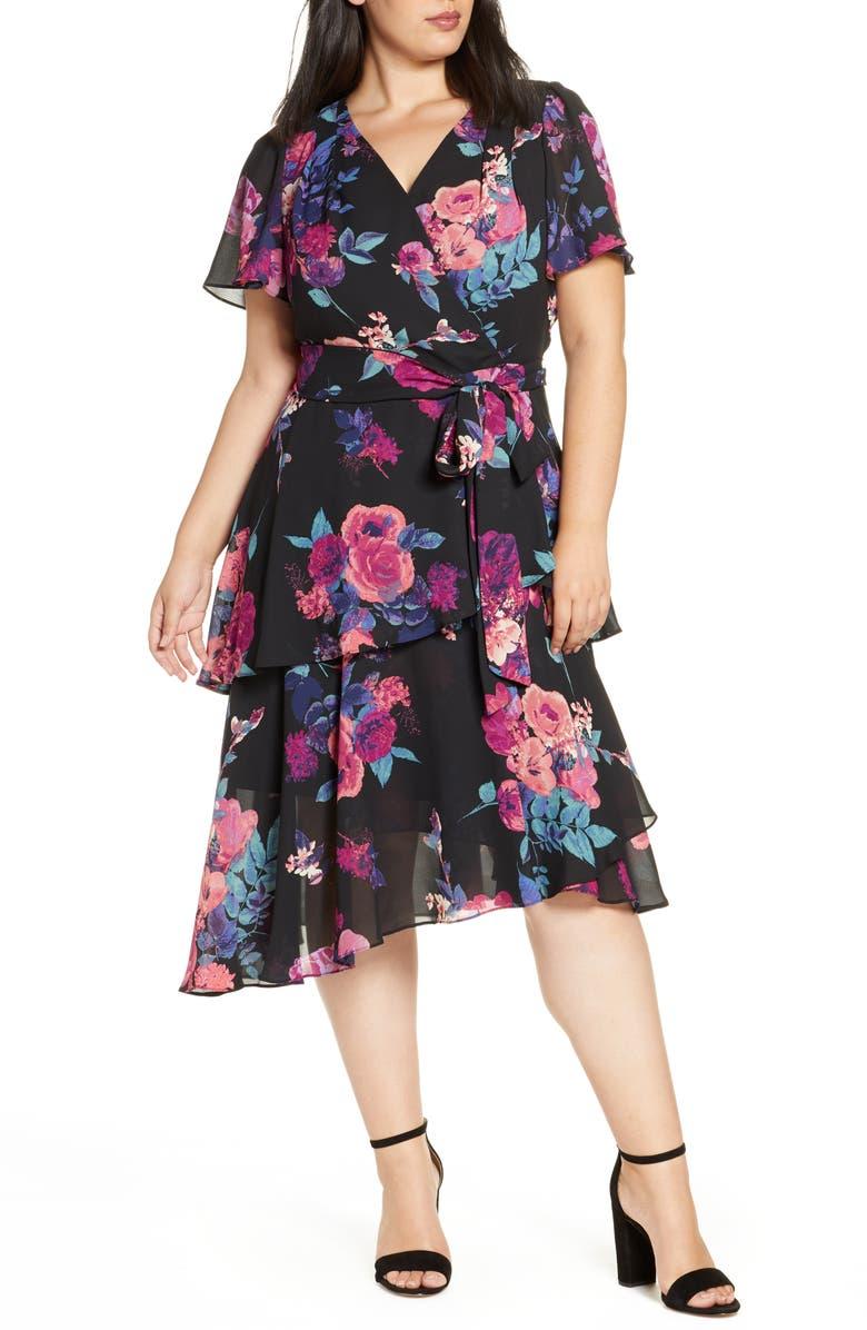 TAHARI Floral Chiffon Faux Wrap Dress, Main, color, PINK PURPLE FLORAL