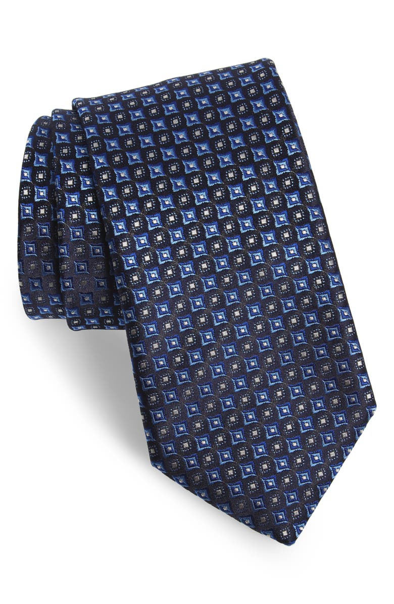 CANALI Medallion Silk X-Long Tie, Main, color, NAVY