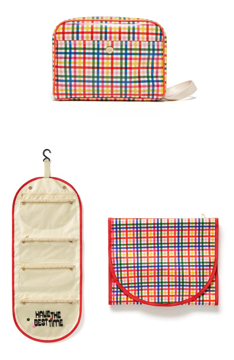 BAN.DO Block Party Travel Organizer & Cosmetics Case Set, Main, color, RED