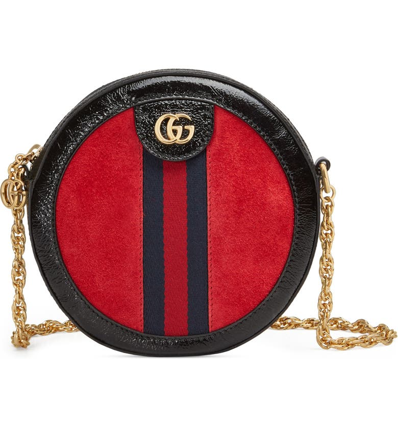 GUCCI Mini Ophidia Round Shoulder Bag, Main, color, HIBISCUS RED/ NERO/ BLUE